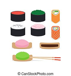 Japanese food vector icons set
