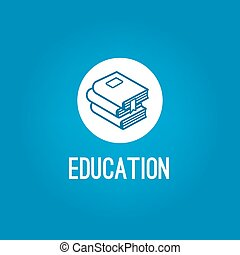 Education logo with pile of book