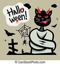 Vector Halloween Devil Cat in straitjacket Cartoon Illustration.