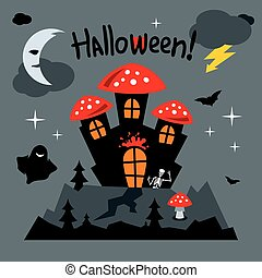 Vector Happy Halloween Concept Cartoon Illustration. -...