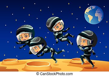 Kids Wearing Astronaut Outfit On The Moon - A vector...