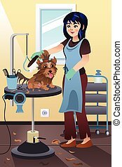 Pet Groomer Grooming a Dog at the Salon