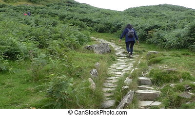 Woman climbing mountain path
