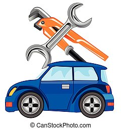 Repair of the cars - Car and keys for servicing on white...