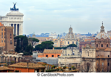 View from Palatine Hill - Rome city top view from Palatine...