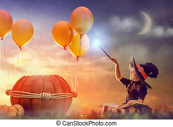 little witch outdoors - Happy Halloween! Cute cheerful...