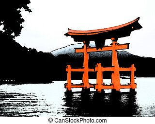 Torii in Miyajima, Japan - Illustration of the probably most...