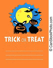 halloween monsters - Two monsters. Halloween greeting card,...
