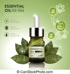 Essential oil ad template, tea tree oil dropper bottle...