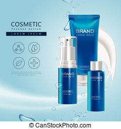Body care product poster, 3D illustration cosmetic package...