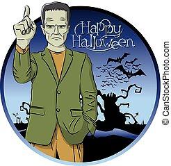 Vector Cartoon Frankenstein Halloween - Cartoon Frankenstein...