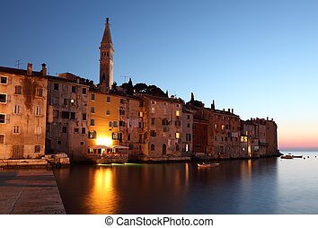 The old town of Rovinj at dusk, Croatia