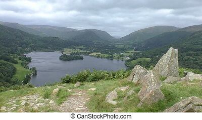Grasmere lake and mountain panorama - English Lake District...