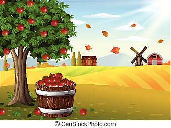 Apple tree and basket of apples in - Vector illustration of...