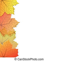Background with stylized autumn lea - Vector illustration of...