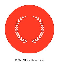 Laurel Wreath sign. White icon on red circle.
