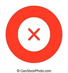 Cross sign illustration. White icon on red circle.