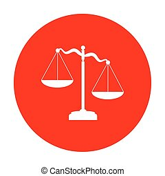 Scales of Justice sign. White icon on red circle.