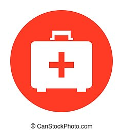 Medical First aid box sign. White icon on red circle.