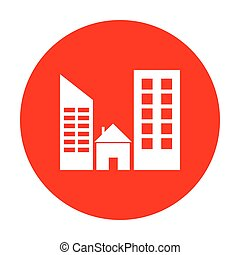 Real estate sign. White icon on red circle.