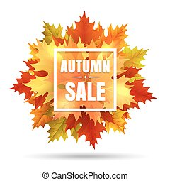 Autumn sale illustration with leaf fall