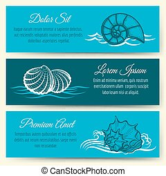 Seashell frame banners. Vector ocean beach and sea shell...