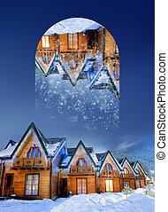 Houses decorated for christmas at night. Geometric...