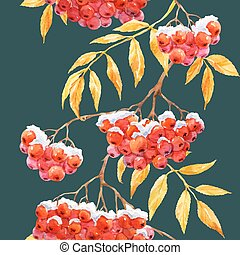 Watercolor rowan pattern - Beautiful pattern with watercolor...
