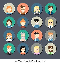 Smiling cartoon people icons set - Various smiling cartoon...