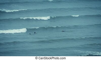 Surfers Catching Waves Out At Sea - Wide view of surfers...