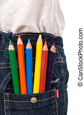 Colored pencils in kids jeans pocket