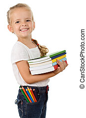 Little girl with lots of books