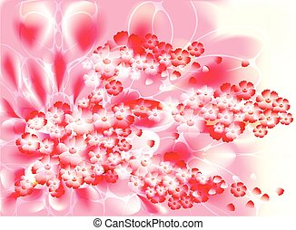 Fabulous illustration of an abstract branch of a cherry blossom on a pink background