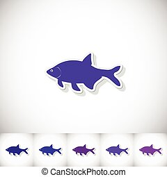 Fish bream. Flat sticker with shadow on white background....