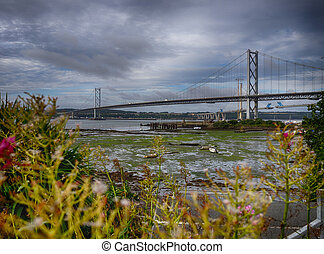 Forth Rail and Road Bridges in Edinburgh, Scotland,...