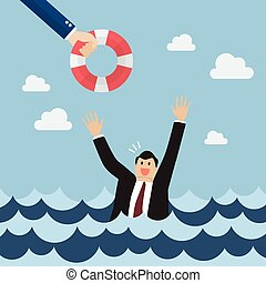 Drowning businessman screaming for help. Business concept