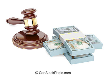 gavel and dollars, law and money concept. 3D rendering isolated on white background