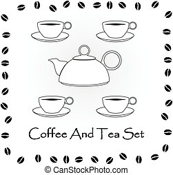Coffee and tea set vector illustration
