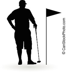 Golf player stand in front of flag silhouette vector...