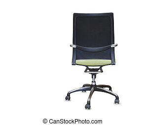 back view of modern office chair from green cloth Isolated