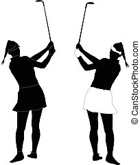 woman golf player - Vector silhouette of a young woman golf...