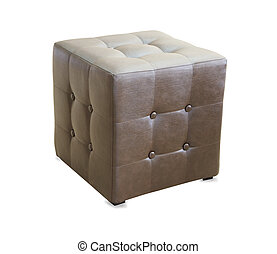 Brown pouf ottoman isolated over white