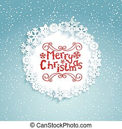 Circular frame with snowflakes.