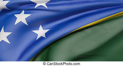Solomon Islands flag - 3d rendering of Solomon Islands flag...
