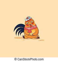 Emoji character cartoon Cock sick - Vector Stock...