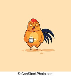Emoji character cartoon Cock nervous with cup of coffee -...