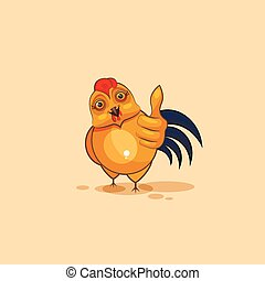 Emoji character cartoon Cock approves with thumb up - Vector...
