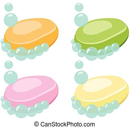 Set of Soap Bar With Bubbles - Vector Illustration.