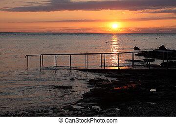 Sunset on the Adriatic Sea Beach in Croatia