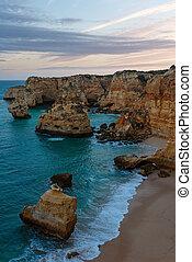 Marinha Beach near Lagoa, in Algarve, Portugal. - Evening...